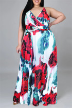 White Red Fashion Casual Print Backless V Neck Sling Dress