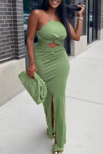 Green Sexy Solid Hollowed Out Halter Irregular Dress Dresses