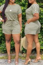 Olive Green Fashion Casual Striped Print Basic O Neck Plus Size Two Pieces