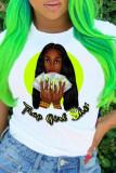 Colour Fashion Casual Print Basic O Neck T-Shirts