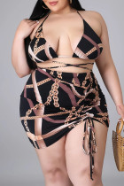 Black Fashion Sexy Print Bandage Backless Halter Plus Size Swimwear