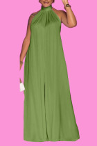 Army Green Casual Solid Split Joint Backless Halter Loose Jumpsuits