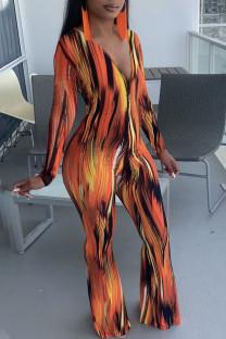 Orange Casual Print Split Joint V Neck Boot Cut Jumpsuits