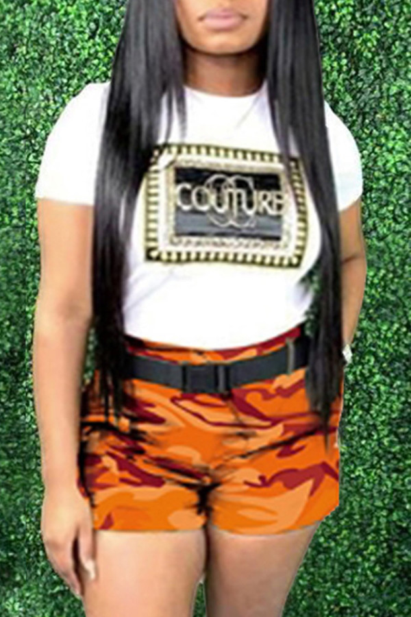 Orange Fashion Letter Print Camouflage Print Without Belt O Neck Plus Size Two Pieces