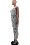 Gray White Casual Print Split Joint V Neck Harlan Jumpsuits