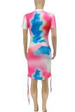 Colour Casual Tie Dye Split Joint Frenulum Fold O Neck Straight Dresses