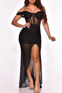 Black Fashion Sexy Patchwork Backless Off the Shoulder Sleeveless Dress