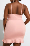Pink Sexy Solid Hollowed Out Split Joint Backless Flounce Spaghetti Strap Sling Dress Plus Size Dresses