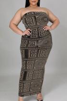 Grey Sexy Print Split Joint Strapless Pencil Skirt Plus Size Dresses