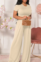 Milky Casual Solid Split Joint O Neck Short Sleeve Two Pieces