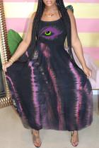 Black Purple Sexy Casual Lips Printed Backless Spaghetti Strap Sleeveless Dress