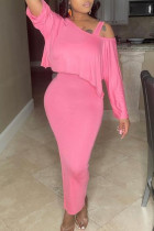 Pink Fashion Casual Solid Slit O Neck Half Sleeve Two Pieces