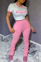 Pink Casual Print Split Joint Buckle O Neck Short Sleeve Two Pieces