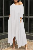 White Casual Solid Split Joint Asymmetrical O Neck Irregular Dress Dresses