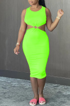 Fluorescent Green Sexy Casual Solid Hollowed Out Backless O Neck Vest Dress