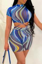 Blue Fashion Casual Print Strap Design Half A Turtleneck Short Sleeve Two Pieces