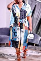 Colour Fashion Casual Print Asymmetrical Turndown Collar Three Quarter Two Pieces