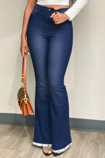 Deep Blue Casual Solid Split Joint Plus Size Jeans