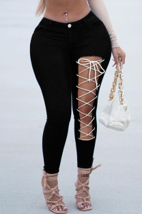 Black Sexy Solid Hollowed Out Draw String Plus Size Jeans