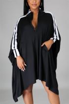 Black Fashion Casual Patchwork Split Joint Turndown Collar Long Sleeve Dress