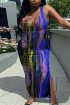 Deep Blue Fashion Sexy Print Tie Dye Slit U Neck Vest Dress