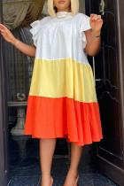 White Fashion Casual Patchwork Fold O Neck Sleeveless Dress