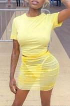 Yellow Fashion Sexy Solid See-through O Neck Short Sleeve Three-piece Set