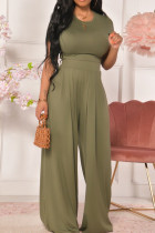 Green Casual Solid Split Joint O Neck Short Sleeve Two Pieces