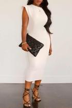 White Fashion Casual Solid Basic O Neck Sleeveless Dress Dresses