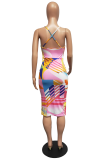 Black Sexy Print Split Joint Spaghetti Strap Pencil Skirt Dresses