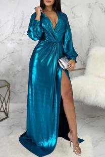 Blue Sexy Solid Split Joint V Neck Irregular Dress Dresses