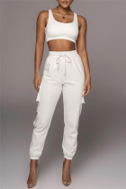 White Fashion Casual Solid Vests Pants U Neck Sleeveless Two Pieces
