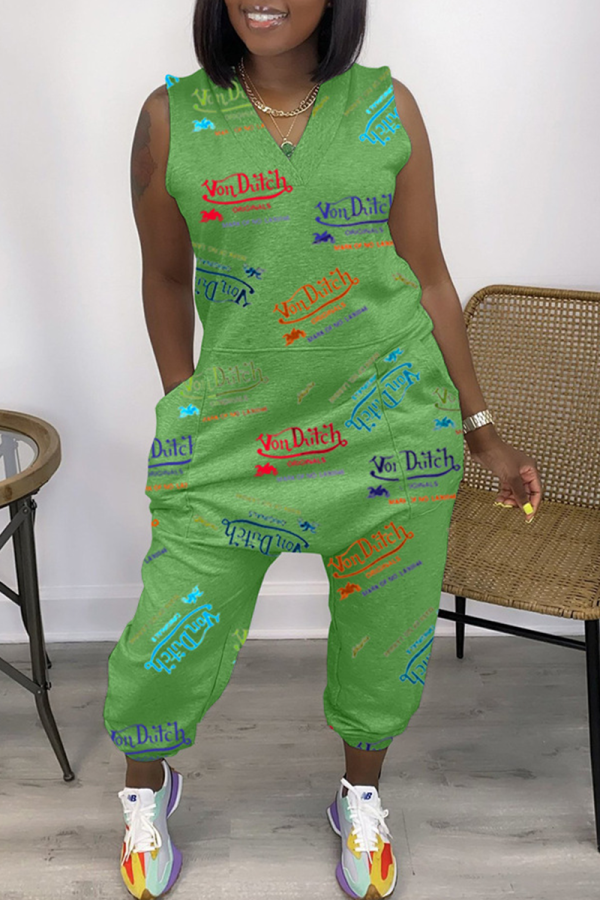 Green Casual Print Split Joint V Neck Harlan Jumpsuits