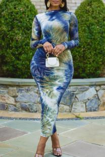 Lake Blue Elegant Print Tie Dye Split Joint O Neck Long Sleeve Dresses