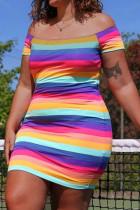 Colour Fashion Plus Size Striped Print Backless Off the Shoulder Short Sleeve Dress