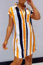 Orange Fashion Casual Striped Print Basic Turndown Collar Shirt Dress