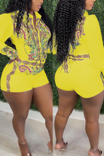 Yellow Casual Print Split Joint With Belt Turndown Collar Straight Jumpsuits