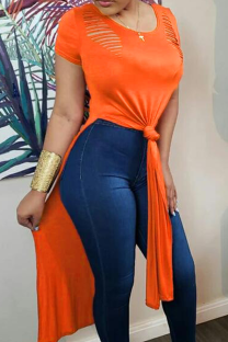 Orange Sexy Solid Split Joint O Neck T-Shirts