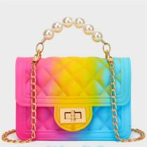 Rose Red Blue Fashion Casual Gradual Change Chains Pearl Messenger Bag