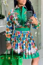 Green Fashion Casual Print Basic Turndown Collar Long Sleeve Two Pieces