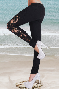 Black Casual Solid Lace Mid Waist Skinny Denim Jeans