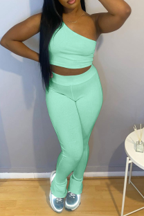 Mint green Casual Solid Split Joint One Shoulder Sleeveless Two Pieces