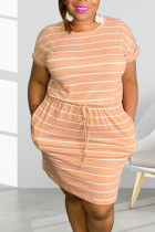 Orange Casual Striped Print Split Joint Frenulum O Neck Short Sleeve Dress Plus Size Dresses
