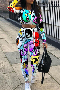 Multi-color Street Print Split Joint O Neck Long Sleeve Two Pieces