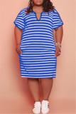 Light Green Fashion Casual Plus Size Striped Print Basic V Neck Short Sleeve Dress