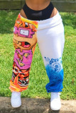Multicolor Fashion Printed Mid Waist Loose Trousers