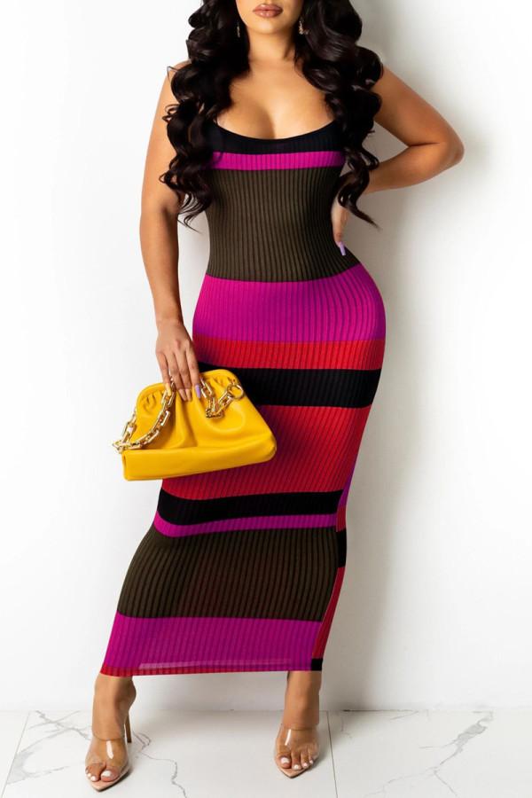 Pink Fashion Sexy Print Backless Spaghetti Strap Sleeveless Dress
