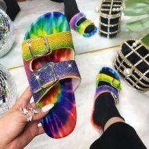Colour Fashion Casual Split Joint Rhinestone Flats Slippers