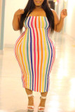 Cream White Casual Striped Backless Contrast Strapless Strapless Dress Plus Size Dresses