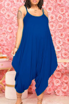 Blue Casual Solid Split Joint U Neck Harlan Jumpsuits